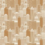 Lewis & Irene - City Nights - 6024 - City Scape in Copper (Metallic)  - A291.2 - Cotton Fabric